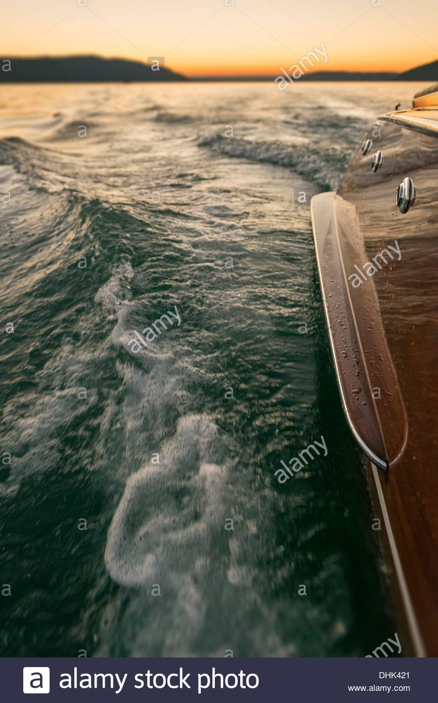 Germany, Baden-Wurttenberg, Lake Constance, Part of wooden motorboat on lake - Stock Image