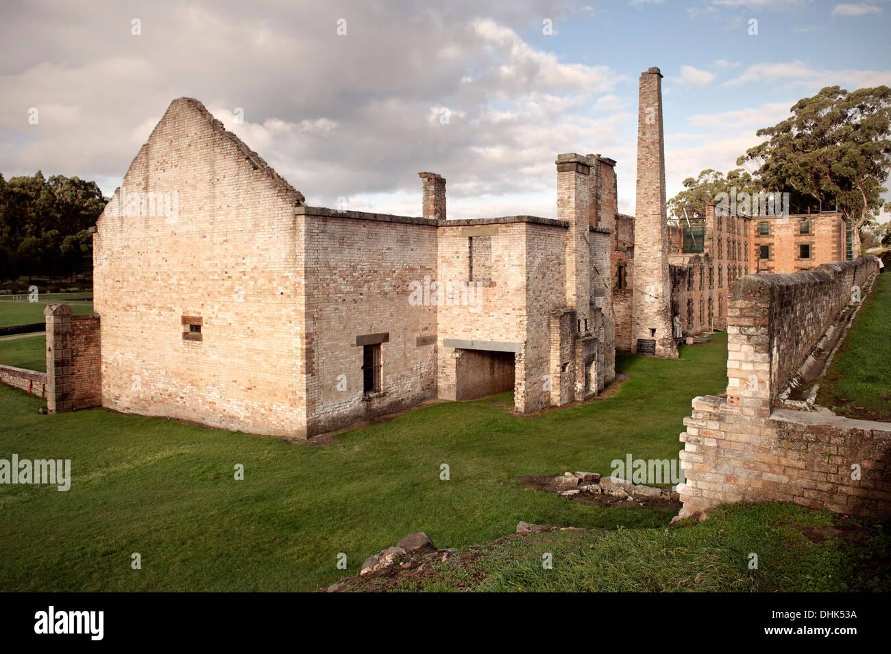 Ruins of penitentiary at Port Arthur, prison, historic site, Tasmania, Australia - Stock Image
