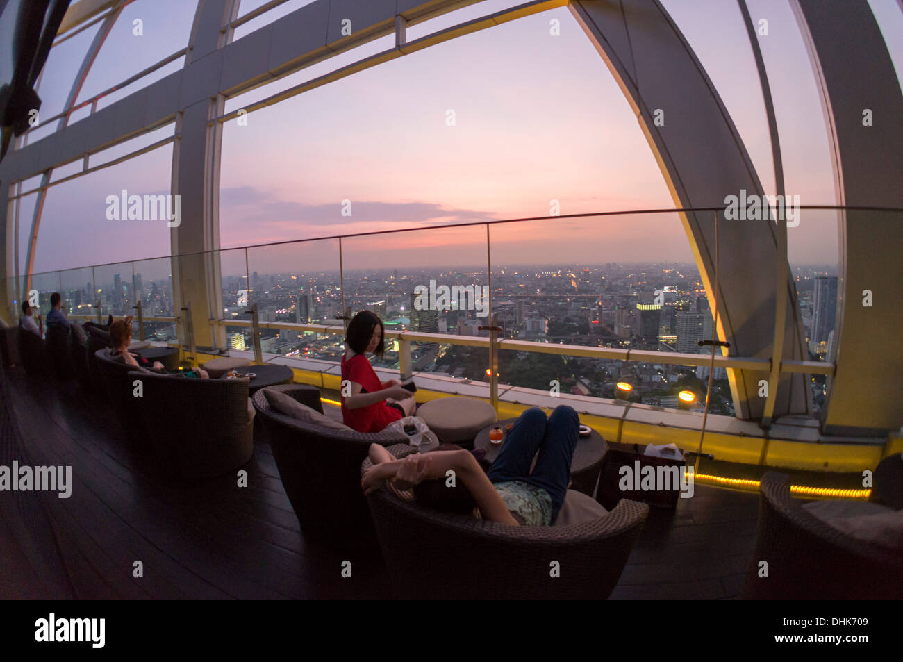 Red Sky Rooftop Bar at Centara Grands, Bangkok, Thailand - Stock Image