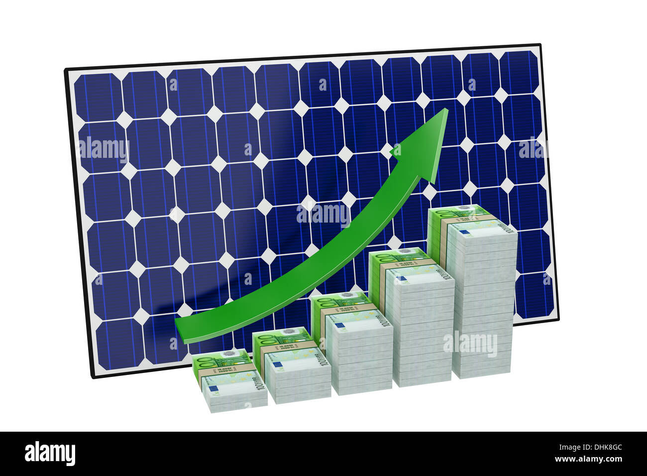 Solar Panel - Bar graphs made from Euro banknotes - Stock Image
