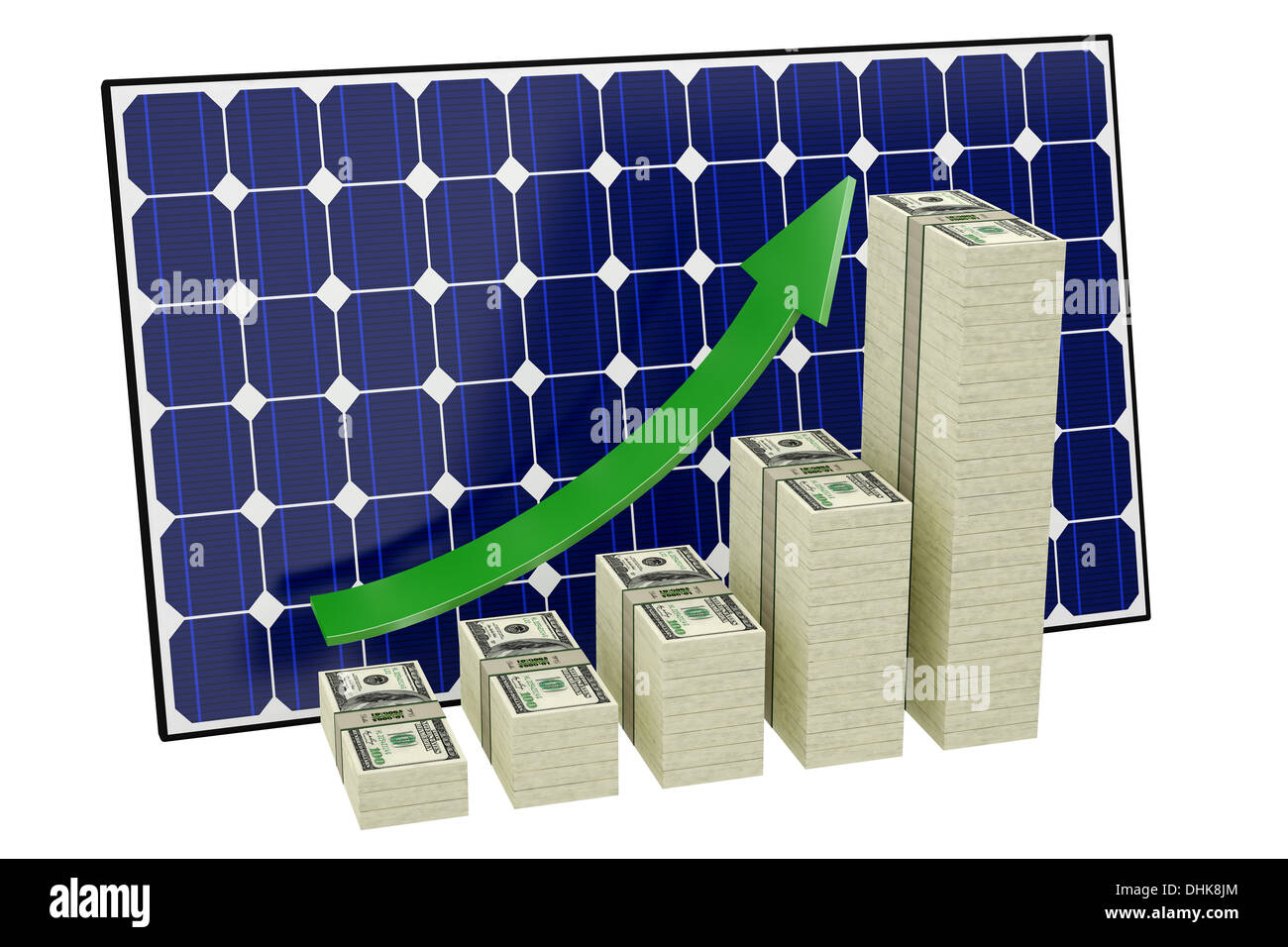 Solar Panel - Bar graphs made from Dollar banknotes - Stock Image