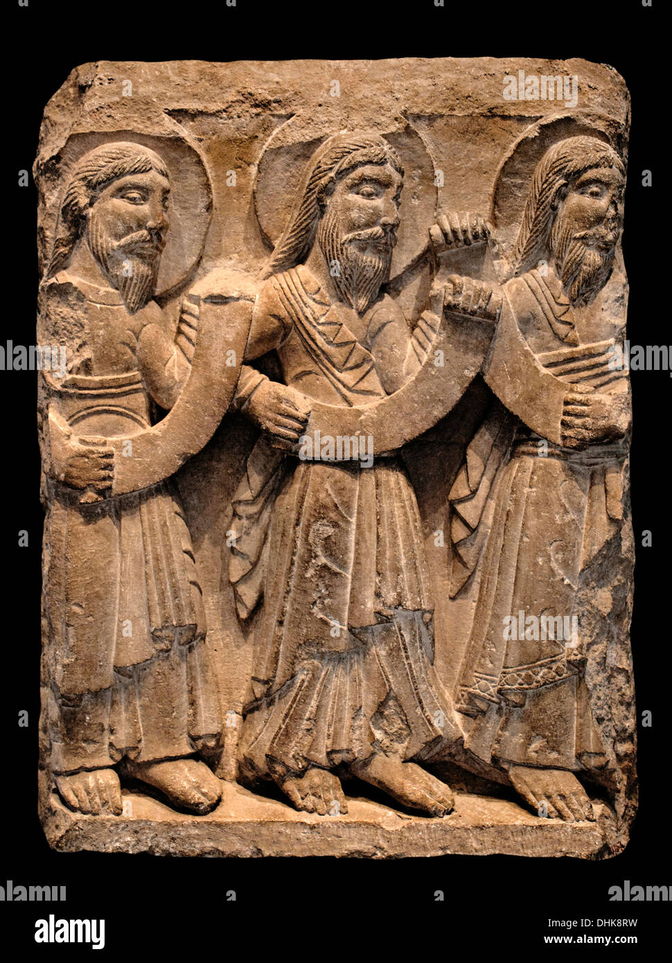 Three Prophets 1170-1180 frontage of the old cathedral of Vic  Catalonia Spain - Stock Image