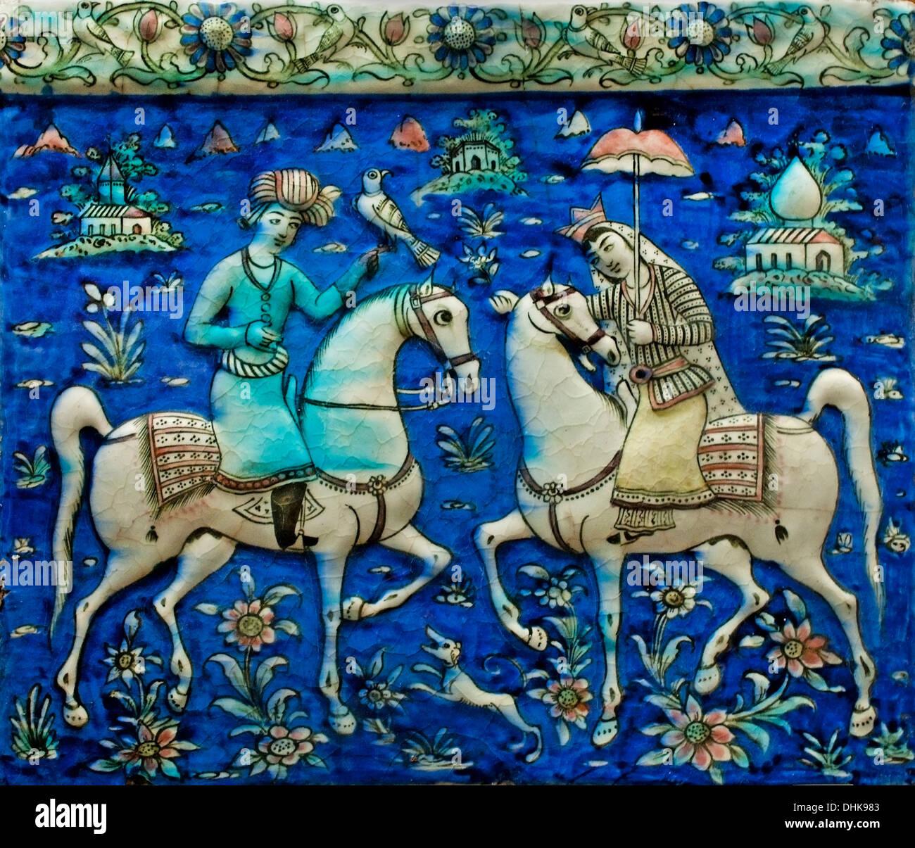 Plate Un Cavalier et une Cavalière - A Rider and Rider 19 Century Teheran  - Tehran Iran Quajar Persia Persian Stock Photo