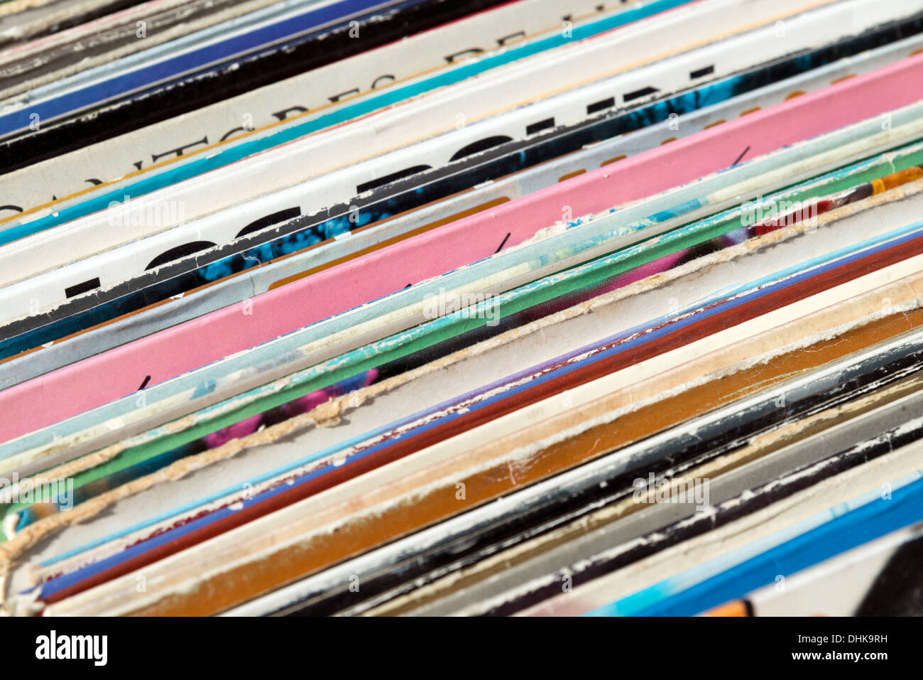 Secondhand vinyl records in a record shop, Madrid, Spain - Stock Image