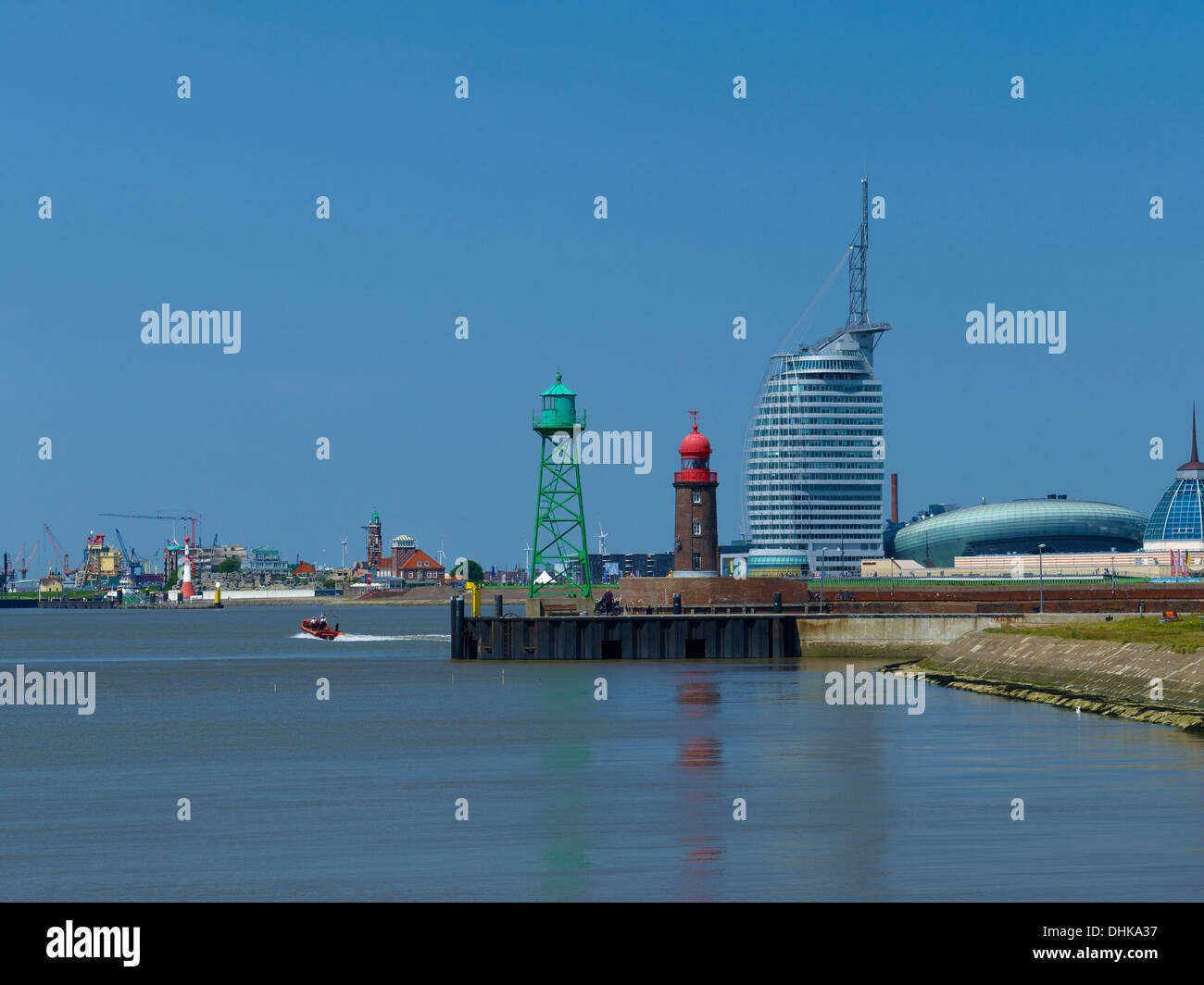 Fishing harbor with Atlantic Hotel Sail City, Klimahaus and Mediterraneo, Bremerhaven, Bremen, Germany - Stock Image