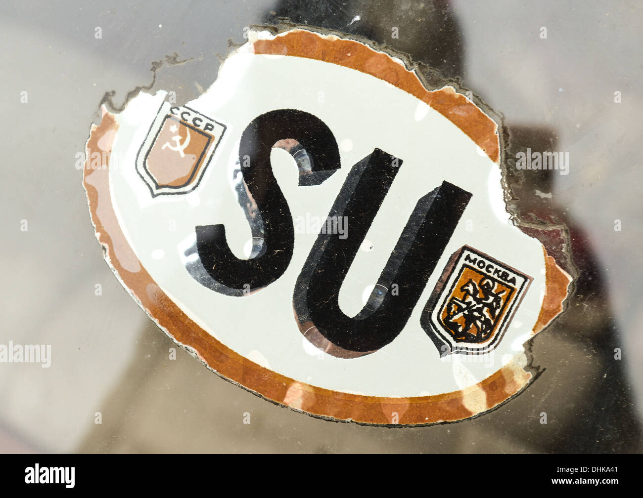 Vintage Soviet Union Sticker with the latin letters SU. On the left CCCP which is Russian for USSR and on the right Moskva. - Stock Image