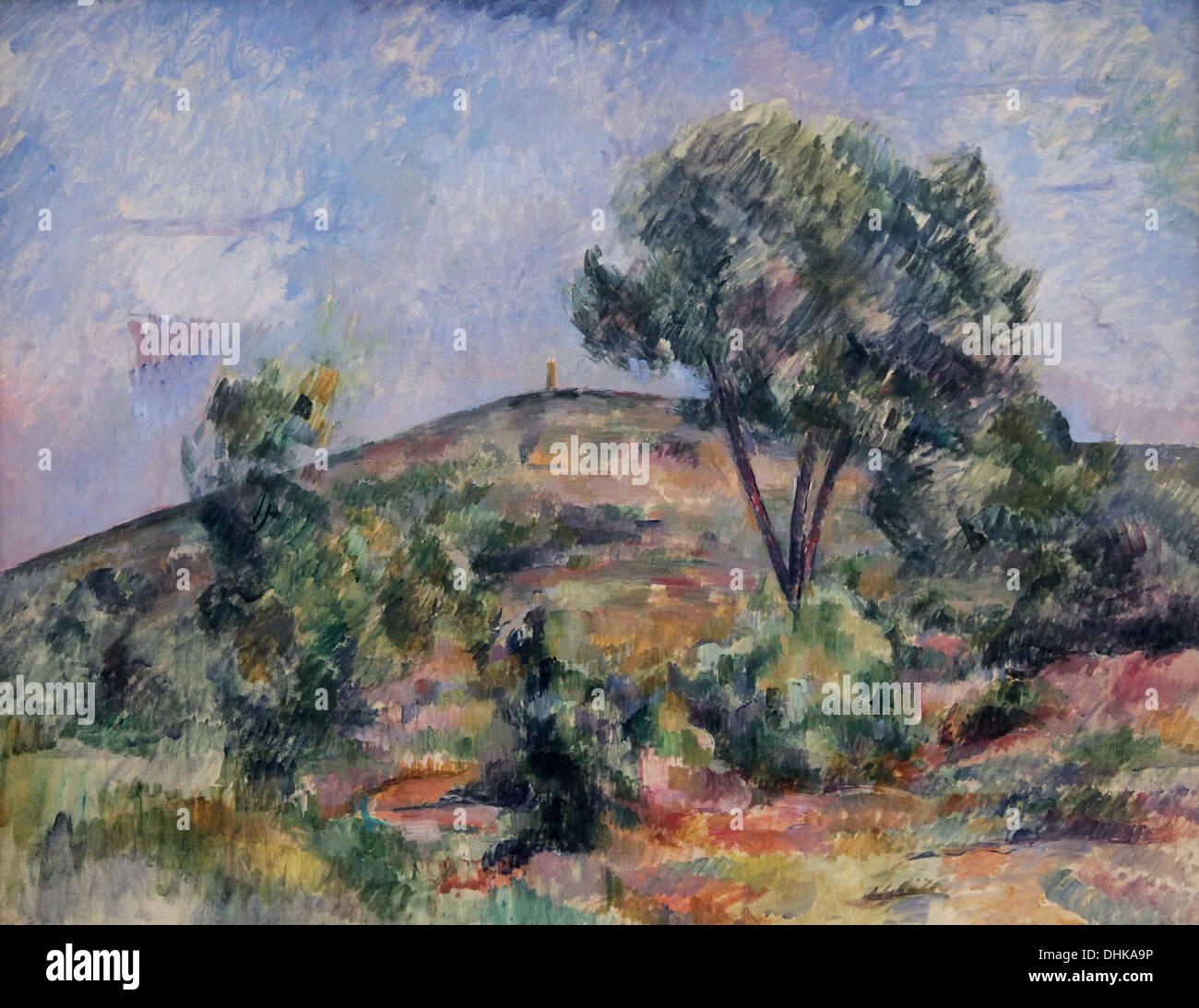 Paul Cézanne.Landscape near Aix with the tour de Cézar.1895 Stock Photo