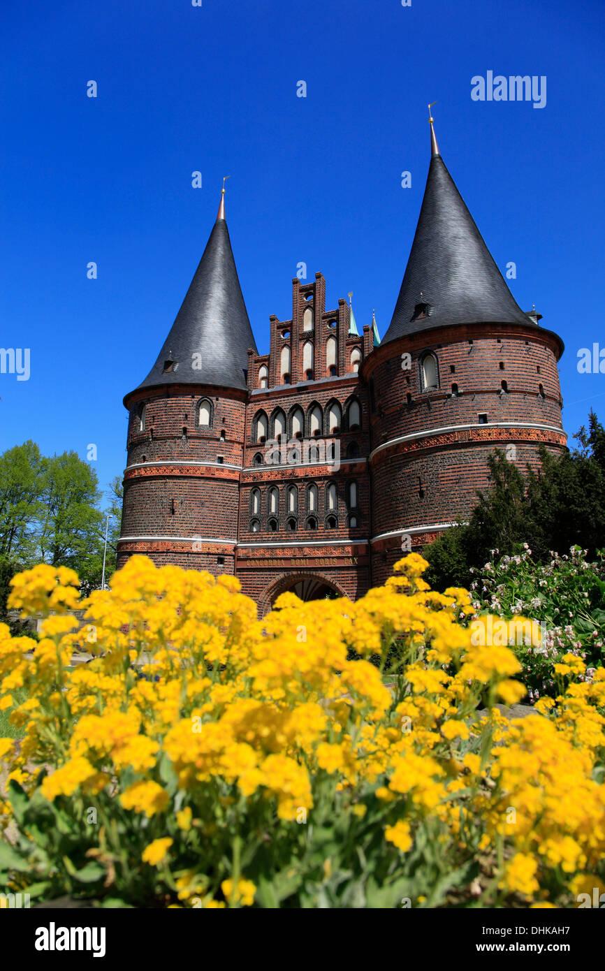 Holstentor, Holsten Gate, Hanseatic town Lubeck,Schleswig-Holstein, Germany - Stock Image