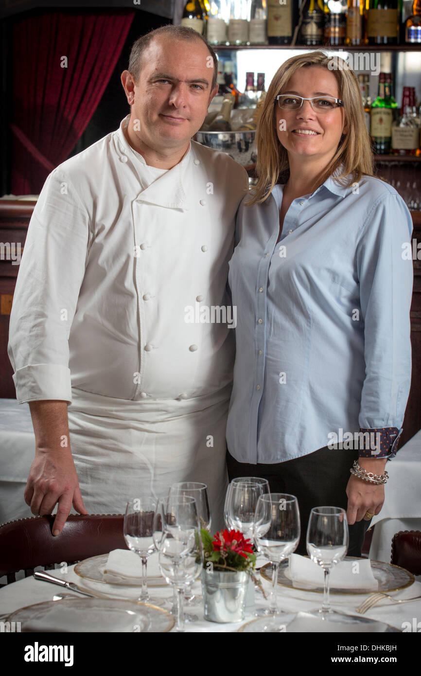 At Vichy, Mr Olivier Tajetti and Mrs Delphine Tajetti, owners of the 'Brasserie du Casino' restaurant (Allier - France). - Stock Image