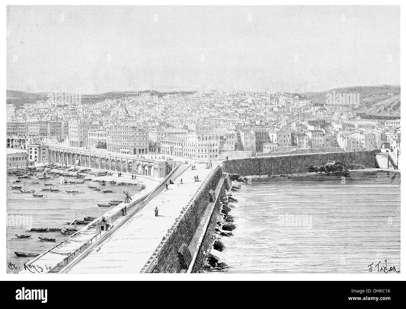 1888 general view of algiers taken from the kheir el-din pier - Stock Image