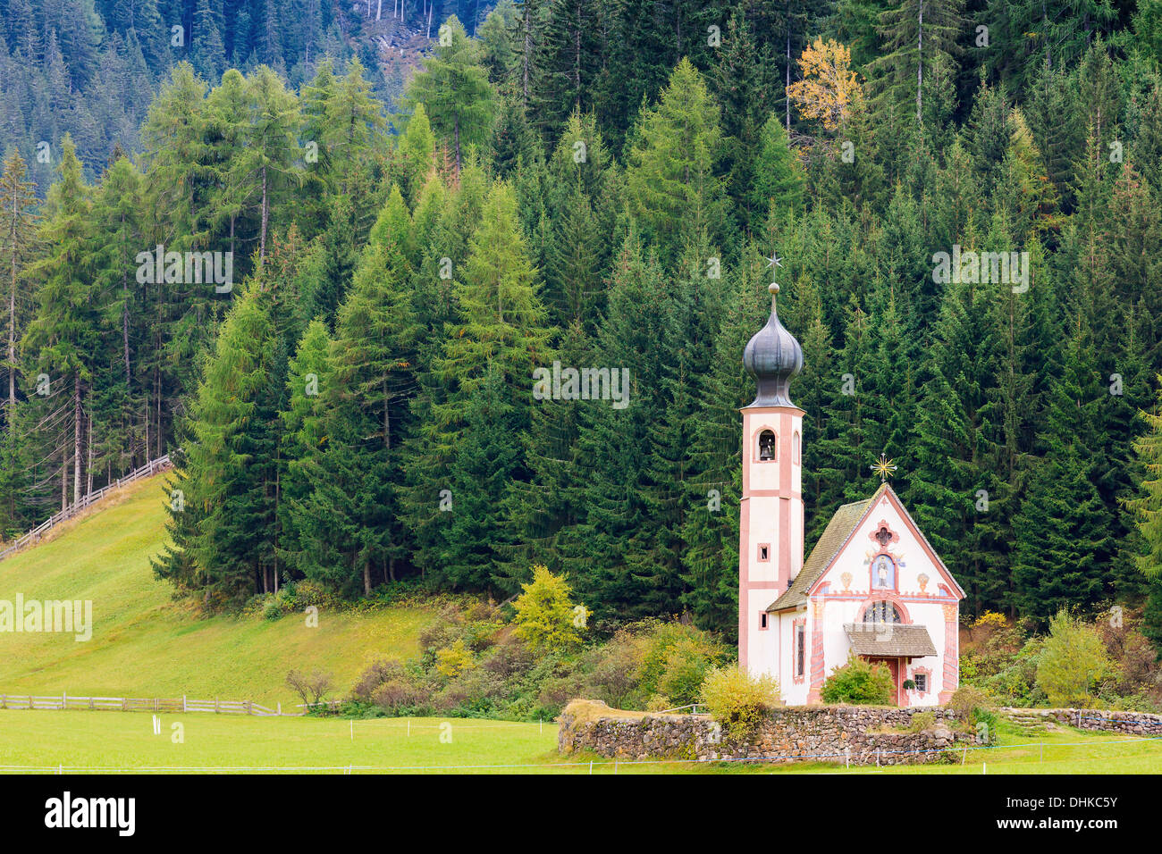 St. Johann (San Giovanni in Italian) chapel in Val di Funes in the Dolomites in northern Italy Stock Photo