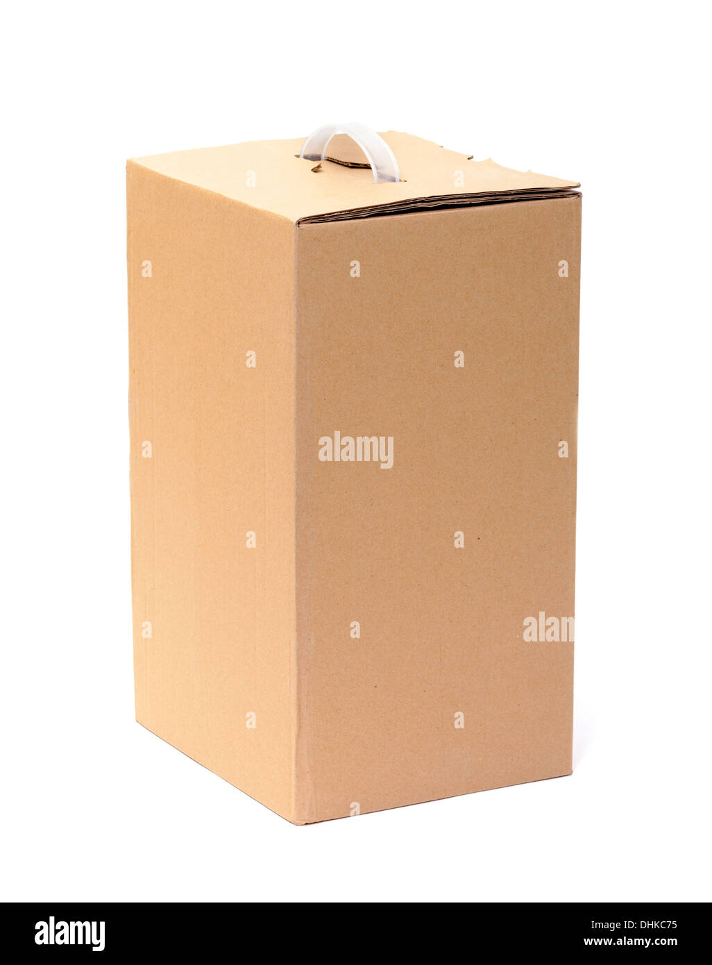 Corrugated Cardboard Box with Handle - Stock Image