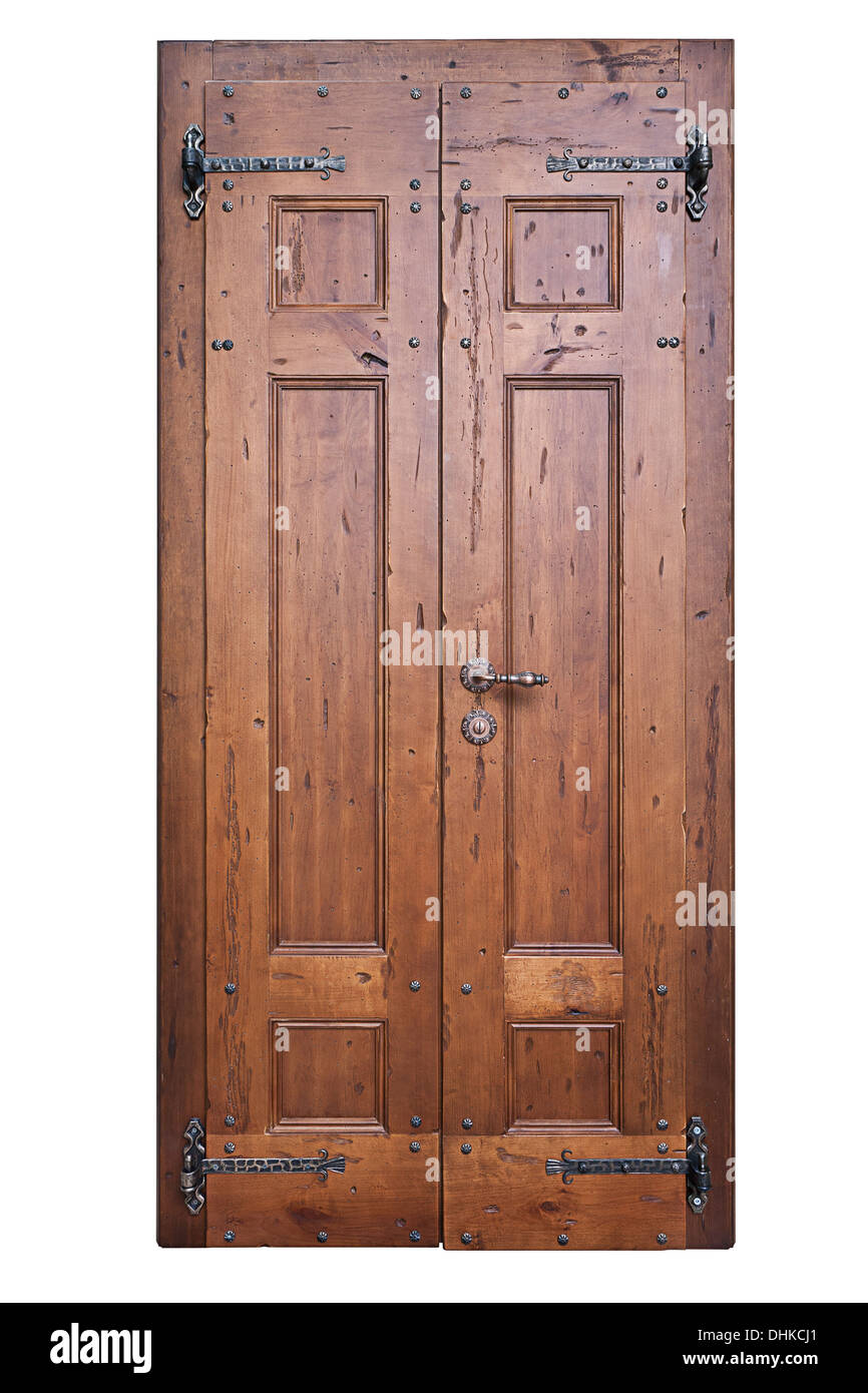 Vintage wooden door isolated on the white background - Stock Image