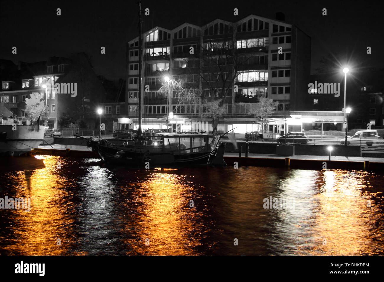 Age inland port at night - Stock Image