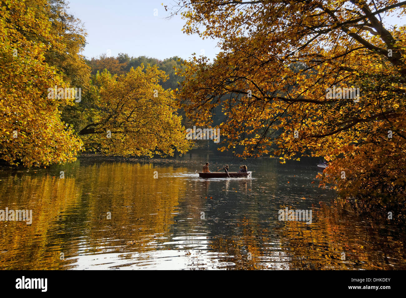 Lake in Tiergarten in autumn with rowing boats, Berlin Center, Berlin, Germany Stock Photo