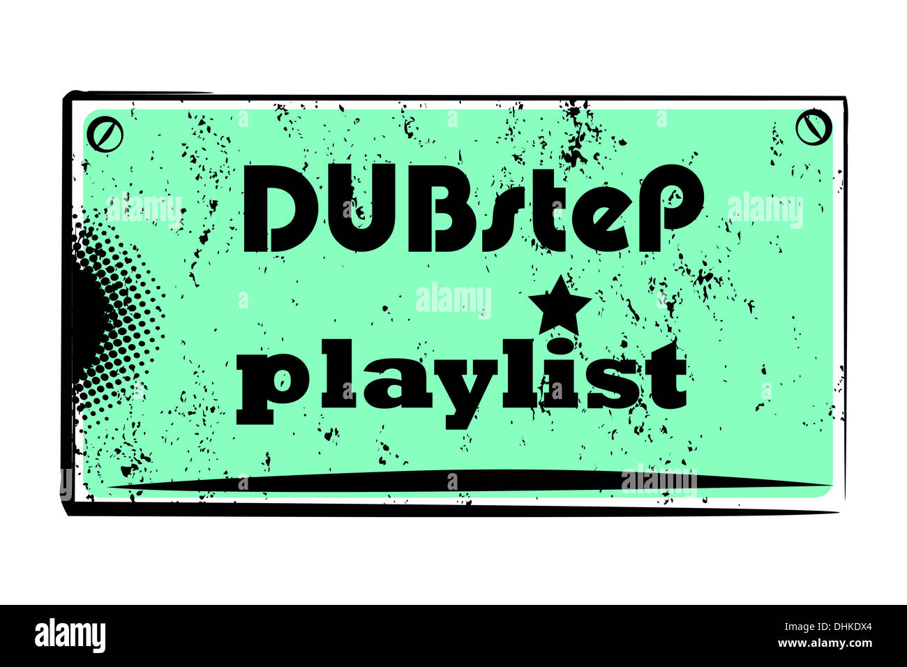 dubstep playlist stamp - Stock Image