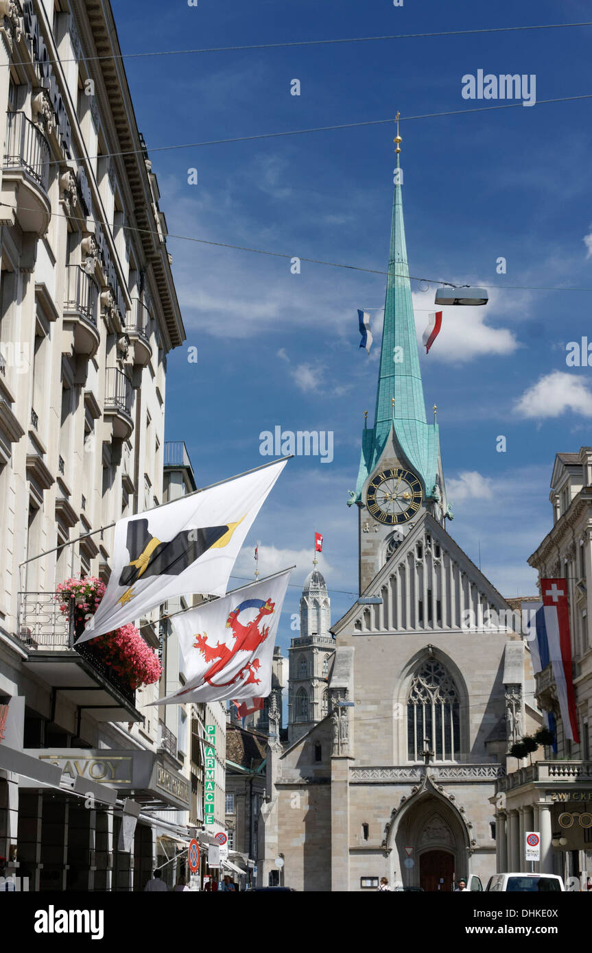 Frauenmuenster, Grossmuenster, Zurich, Switzerland - Stock Image