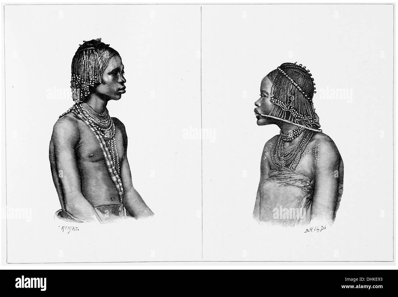 1888 Quissama man and woman Angola  Luanda - Stock Image