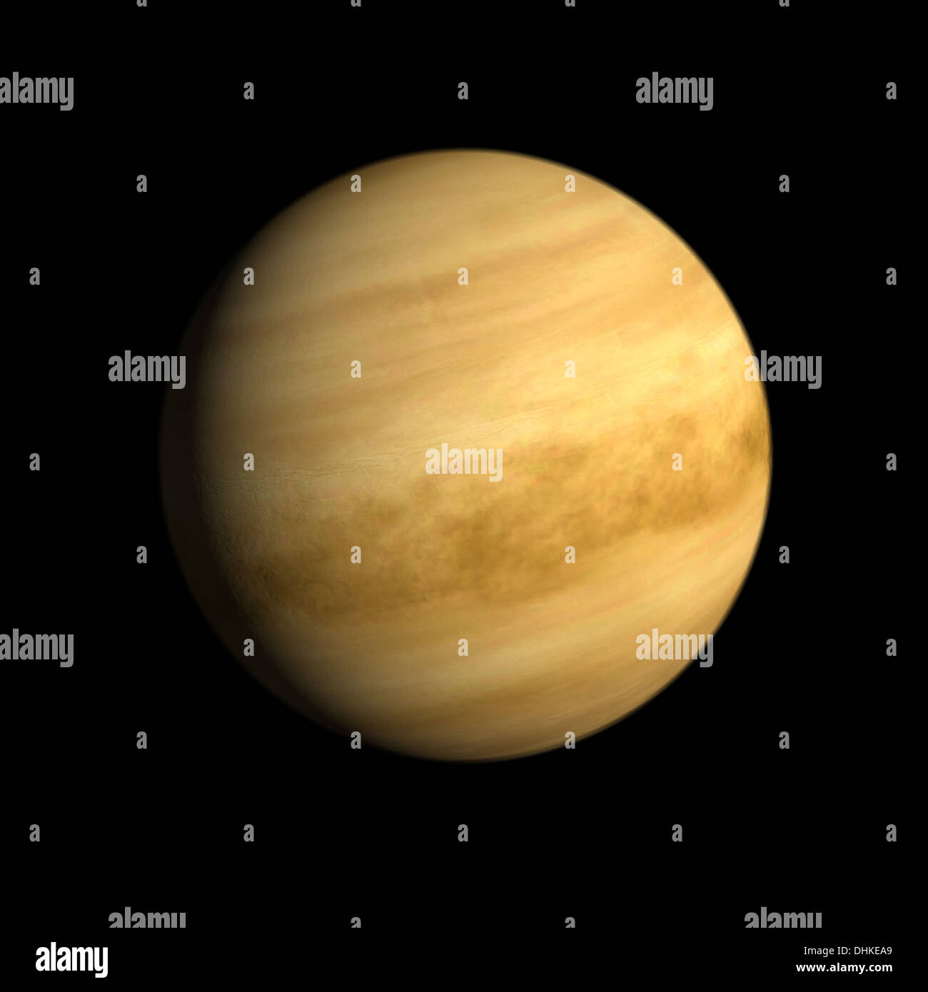 A rendering of the Planet Venus on a clean black background. - Stock Image