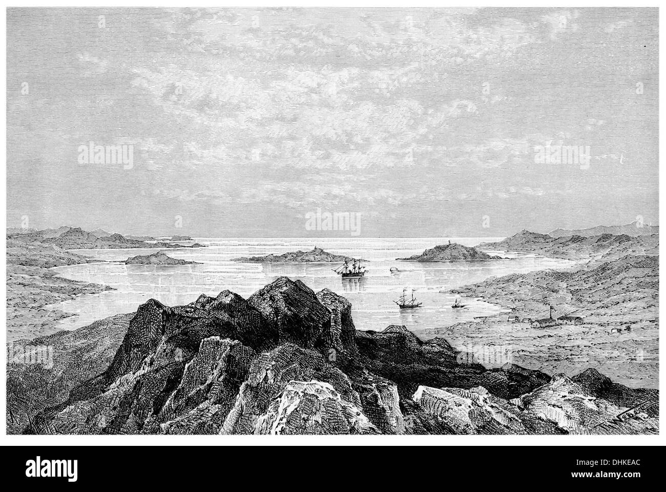 1888 Angra Pequena from Nautilus point - Stock Image