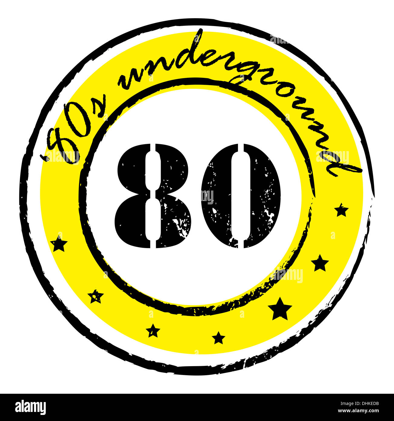 eighties underground stamp - Stock Image