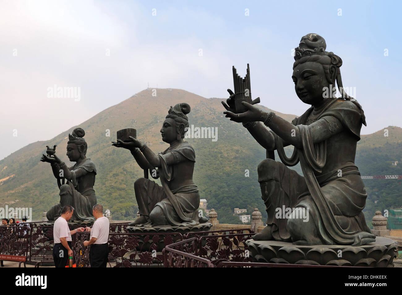Sculptures at Po Lin Monastery, Lantau Island, Hongkong, China, Asien - Stock Image