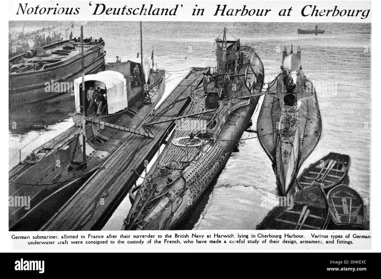 Notorious 'Deutschland in Harbour at Cherbourg German submarines, allotted to France after their surrender to the British Navy - Stock Image