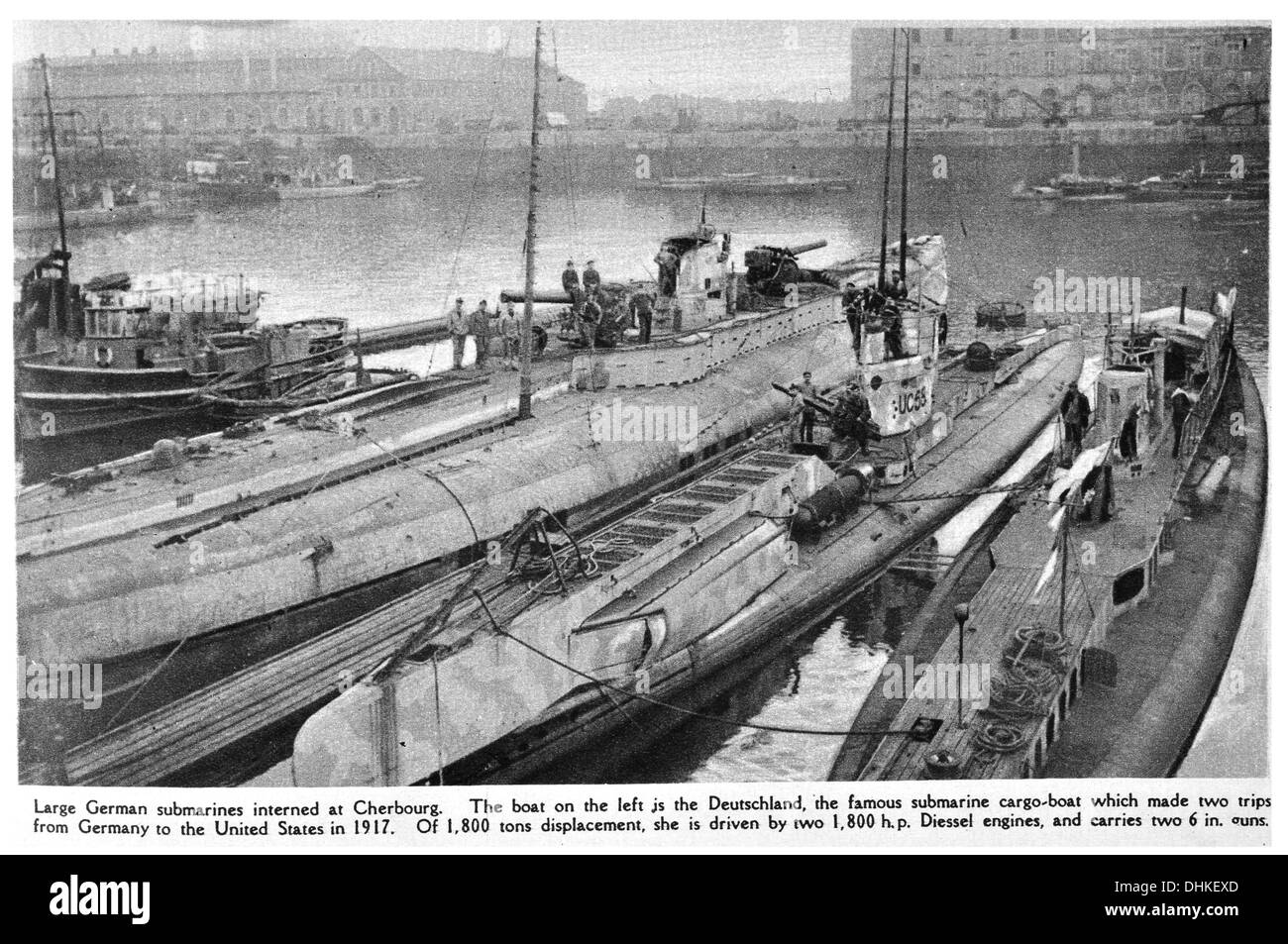 Large German submarines interned at Cherbourg. The boat on the left is the Deutschland, the famous submarine cargo boat. - Stock Image