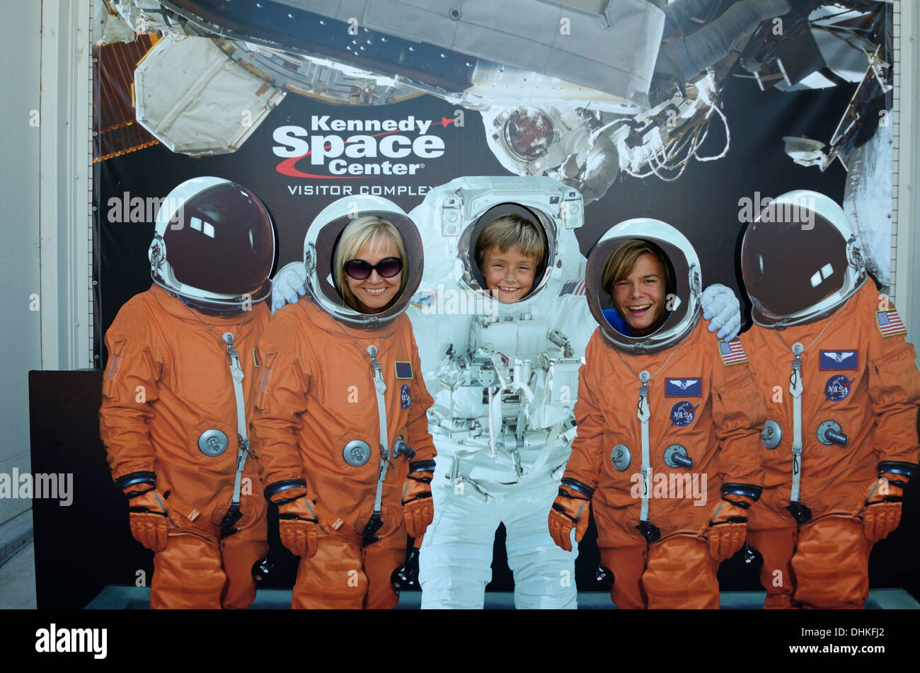 Photo wall with astronauts, John F. Kennedy Space Center, Cape Canaveral, Florida, USA - Stock Image