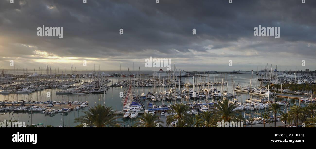 Panoramic view of the Marina at Palma de Mallorca - Stock Image