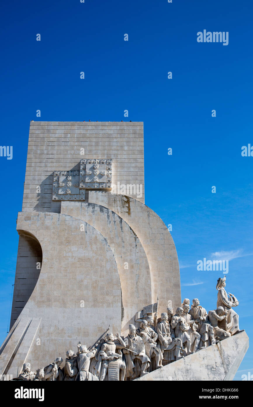 Padrao dos Descobrimentos, Discoveries Monument in Belem on the northern bank of the Tagus River, Lisbon, Lisboa, Portugal - Stock Image