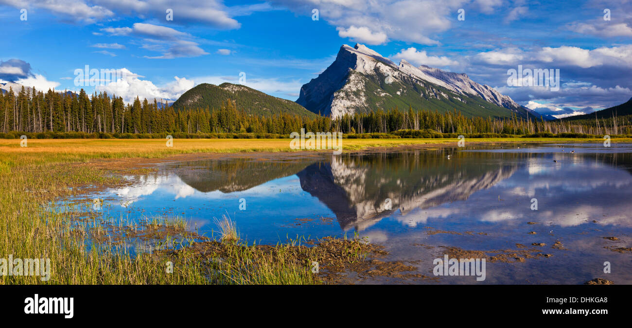 Mount Rundle rising above Banff township from Vermillion lakes drive Banff National park Canada North America Alberta - Stock Image