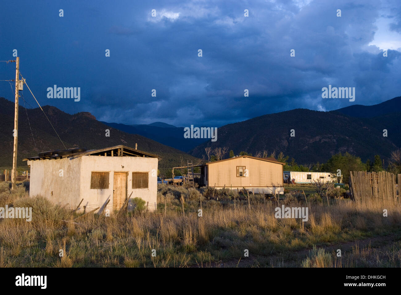 Dark Blue Sky Over Mountains In Questa New Mexico Stock Photo