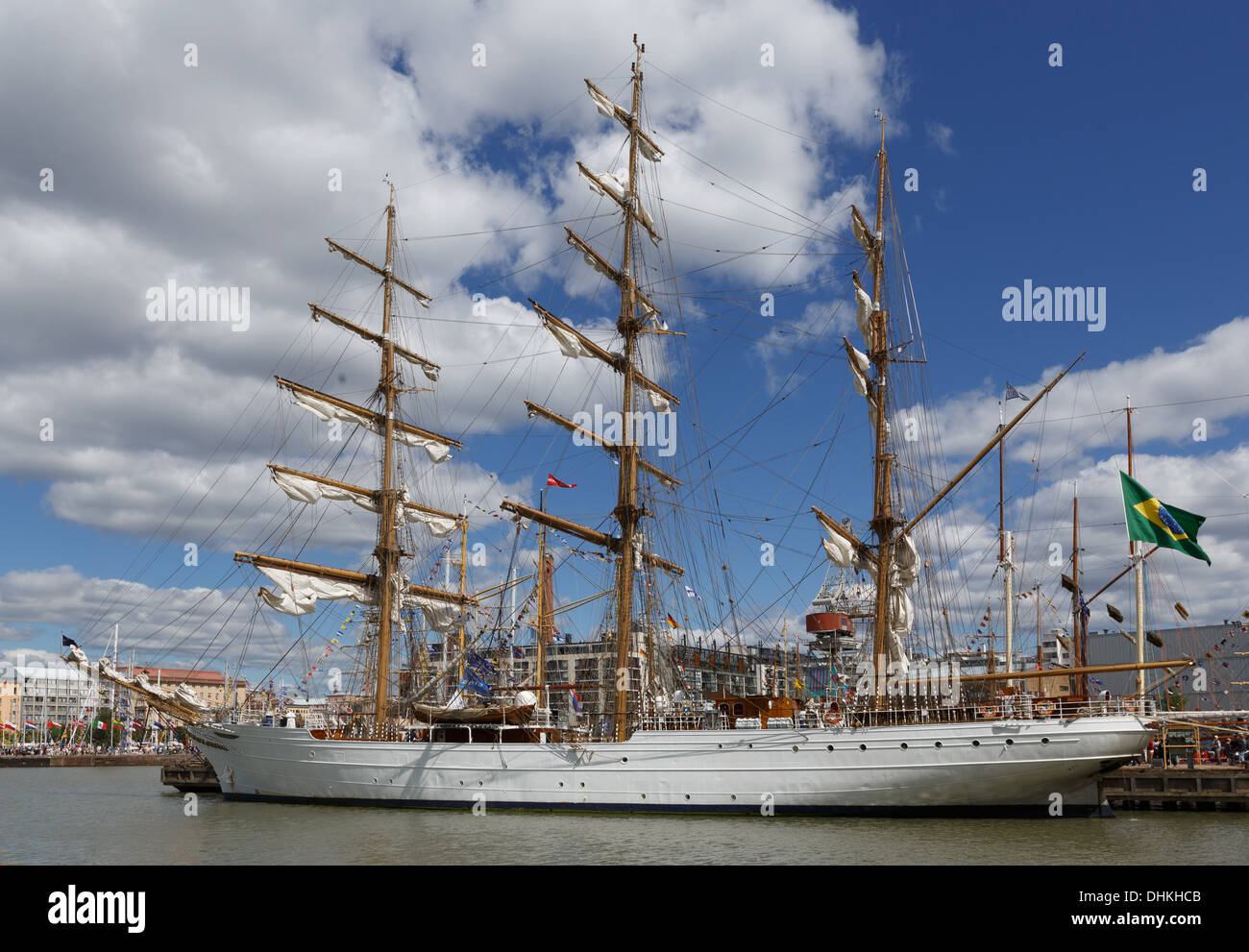 Cisne Branco, a sail training vessel of the Brazilian Navy, moored at the West Harbor of Helsinki for The Tall Ships Races 2013. - Stock Image