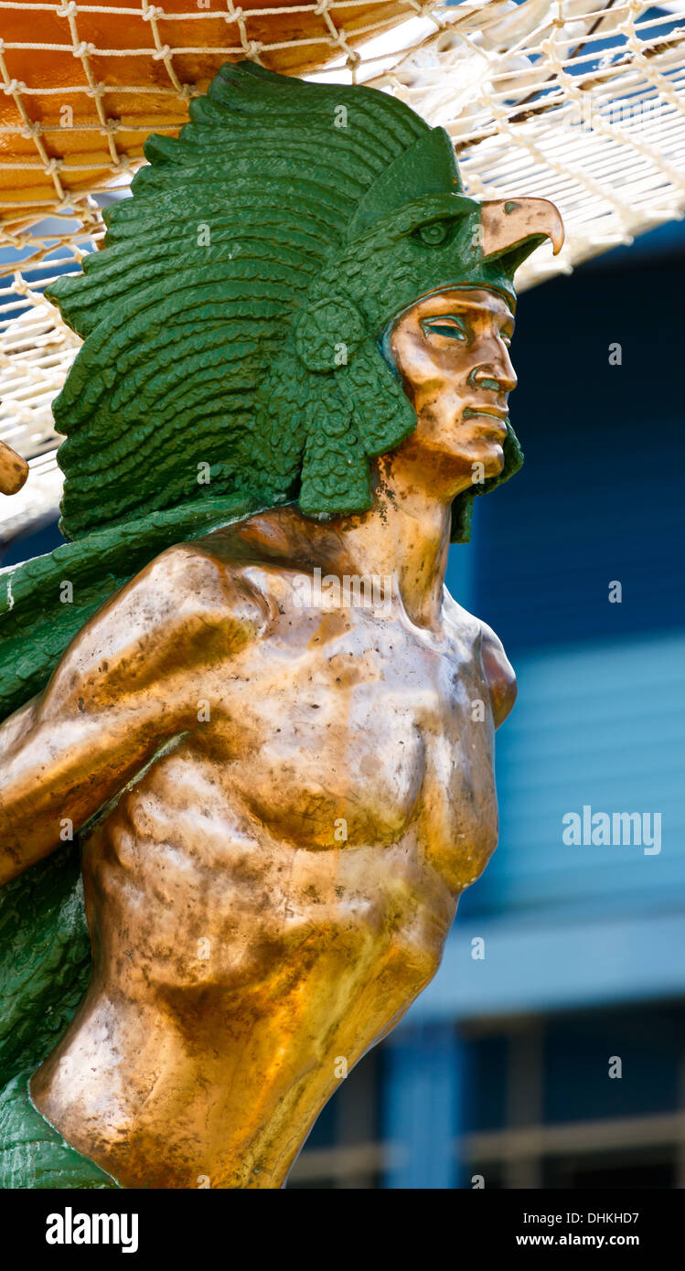 The figurehead of ARM Cuauhtémoc, a sail training vessel of the Mexican Navy, participant in Tall Ships Races of 2013. - Stock Image