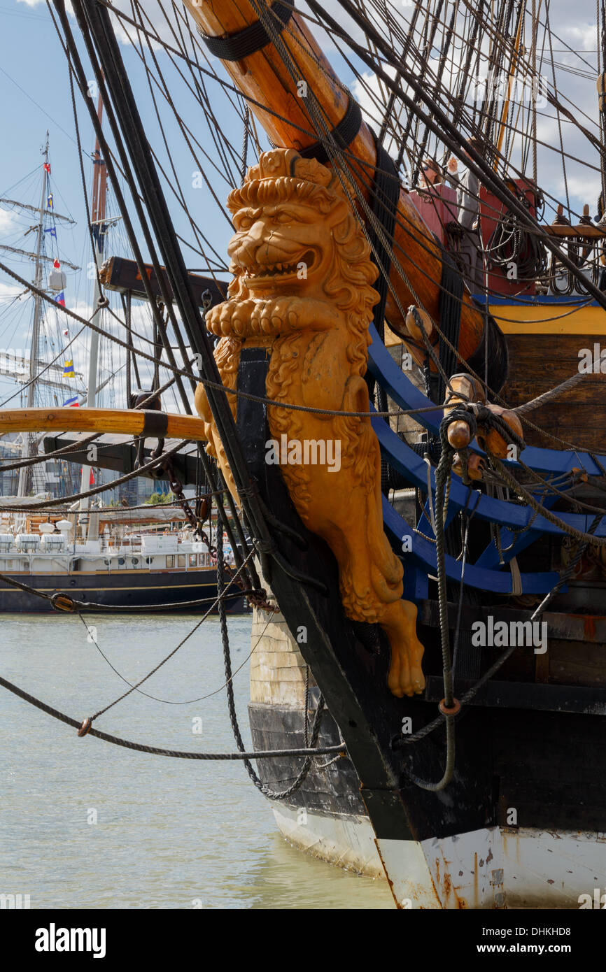 Figurehead of Götheborg, a sailing replica of an 18th-century Swedish East Indiaman, participant in The Tall Ships Races 2013. - Stock Image
