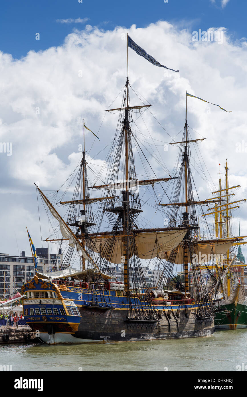 Götheborg, a sailing replica of an 18th-century Swedish East Indiaman, moored at Helsinki West Harbor for Tall Ships Races 2013. - Stock Image