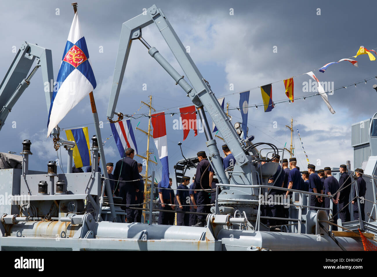 Orders given to staff aboard minelayer FNS Pohjanmaa, the former flagship of the Finnish Navy, in the Tall Ships Races of 2013. - Stock Image