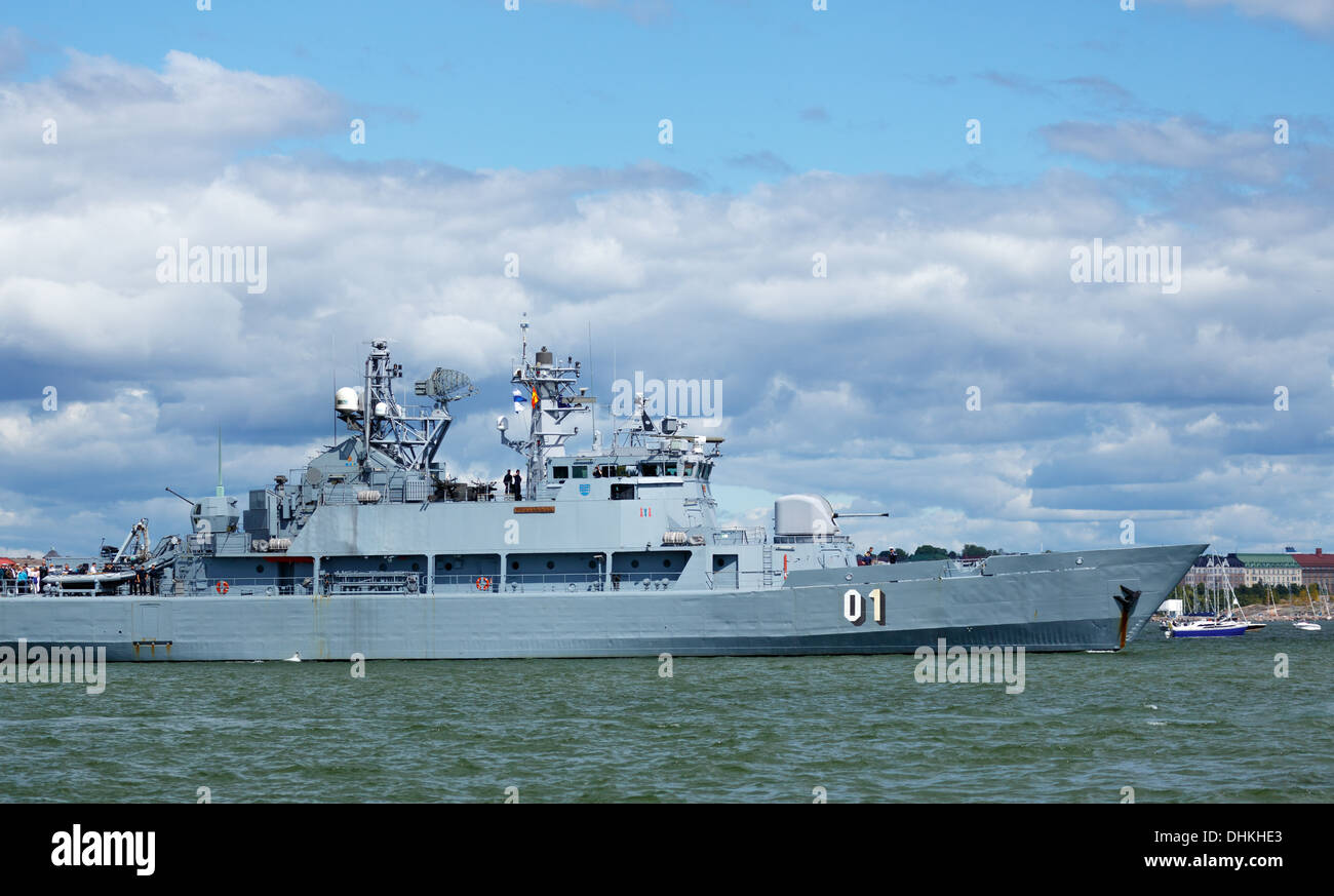 MInelayer and training ship FNS Pohjanmaa departing from the West Harbor of Helsinki in the Tall Ships Races of 2013. - Stock Image