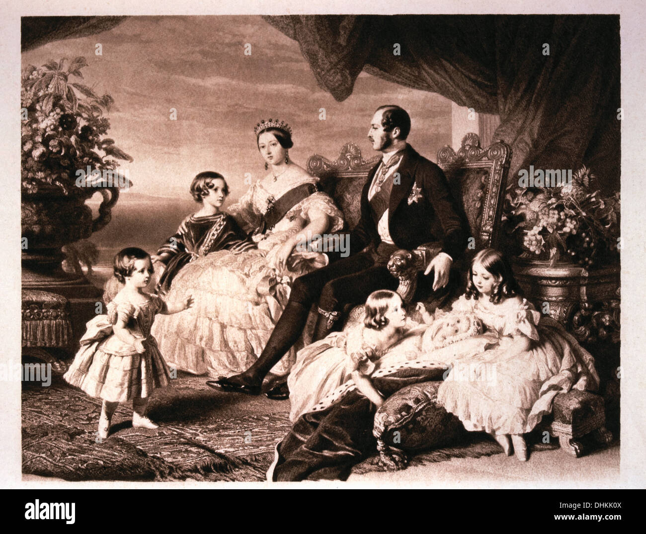 Queen Victoria with Prince Albert and Five of Their Children, 1846 - Stock Image