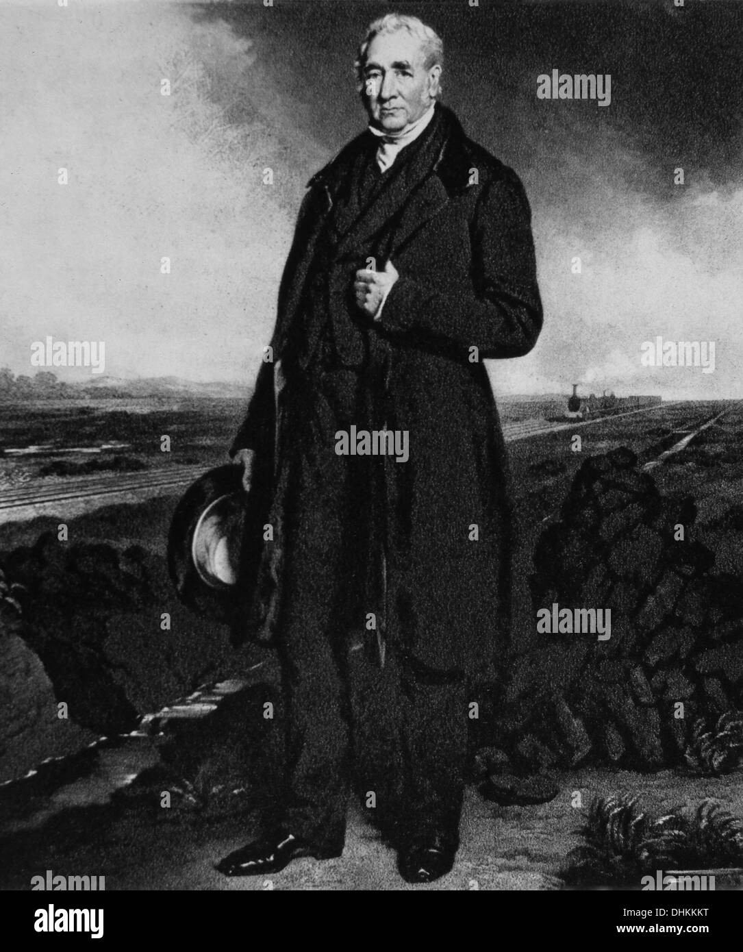 George Stephenson (1781-1848), English Engineer, Noted Locomotive Builder, Engraving, 1873 - Stock Image