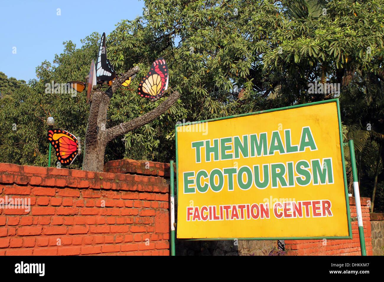 Entrance to Thenmala Ecotourism facilitation center - Stock Image