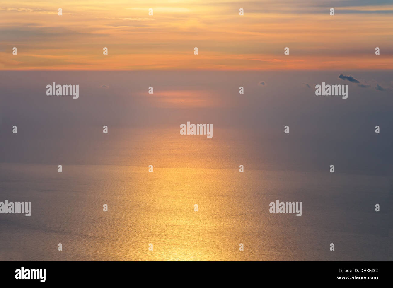 Dawning Sky and Sea on Sunrise morning beautiful Infinity scenery Background with natural soft colors Aerial view from mountain - Stock Image