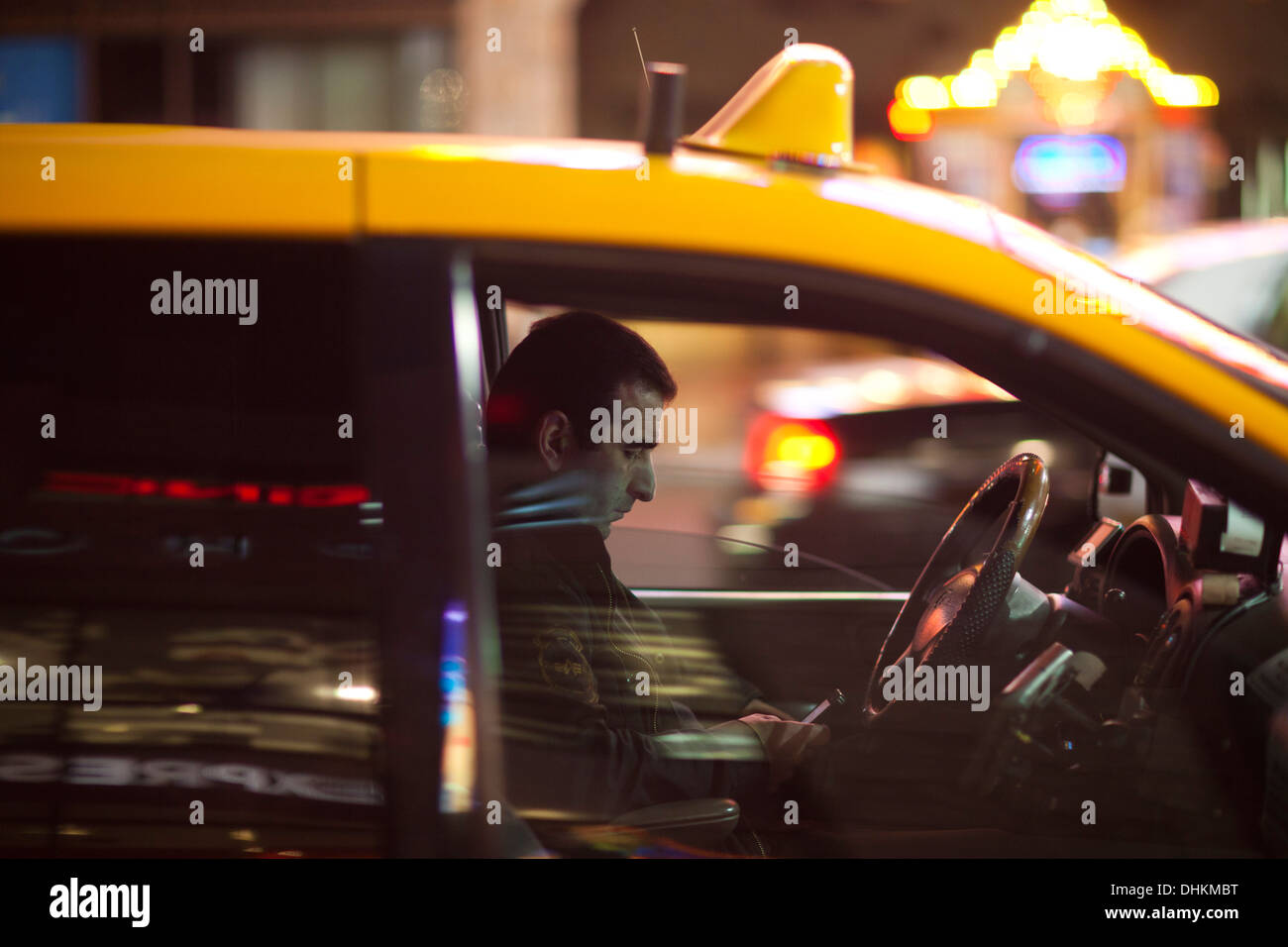 taxi driver, Hollywood Boulevard, Hollywood, Los Angeles, California, United States of America - Stock Image