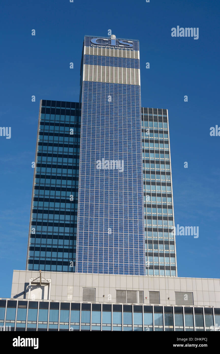 The CIS building in Manchester, the third tallest building in Europe at the time of its construction. Covered in solar panels. - Stock Image