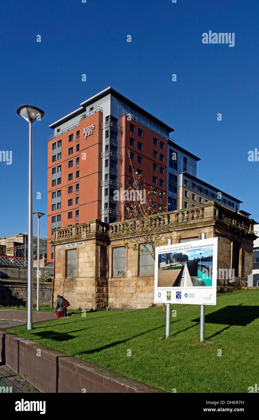 Customs House Quay Gardens Public Realm improvements scheme along River Clyde in Central Glasgow Scotland with Jurys - Stock Image