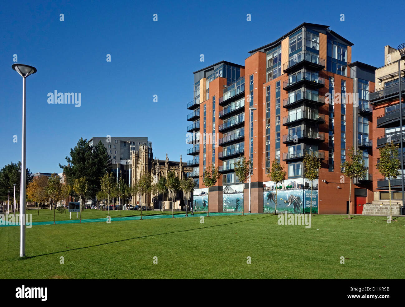 Customs House Quay Gardens Public Realm improvements scheme along River Clyde in Central Glasgow Scotland - Stock Image