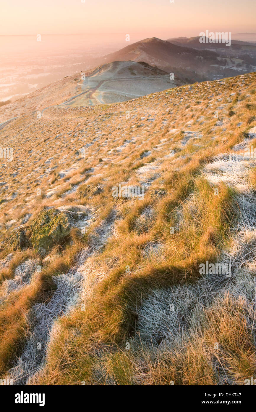 Sun rises over the Malvern hills casting shadows and highlights on the frosted tufts of grass on the Worcestershire Stock Photo