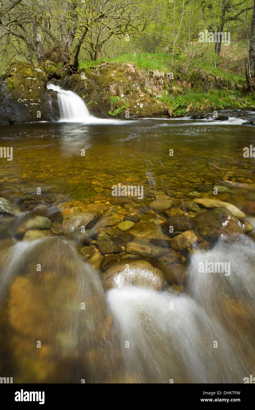 A shallow plunge pool and fast flowing water along Aira Beck with a small waterfall in the background Stock Photo