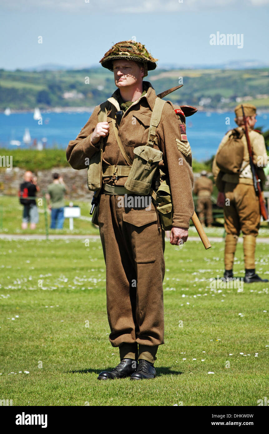 A british soldier at a re-enactment day - Stock Image